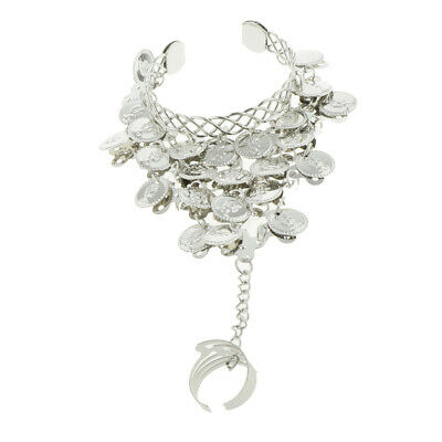 £3.28 • Buy Belly Dancing Bracelet With Finger Ring Indian Dance Fashion Jewelry Silver