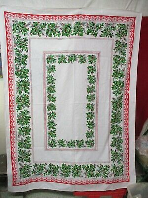 $ CDN18.87 • Buy Vintage Cotton Christmas Tablecloth Red White Green Holly Floral Border (B)