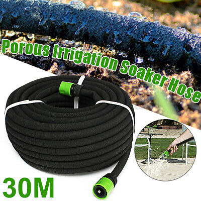 30M Garden & Lawn Irrigation Watering Perforated Soaker Hose Pipe Drip  ~ • 18.33£