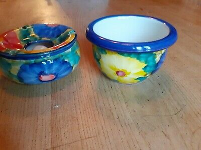 2 Spanish Hand Painted Ceramic Pottery Bowls • 5£