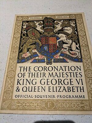 Official Souvenir Programme The Coronation Of King George VI And Queen Elizabeth • 0.99£