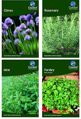 £4.99 • Buy Herb Collection Pack 4 Herbs Grow Your Own Chives Mint Rosemary Parsley Garden