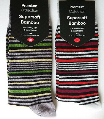 £3.99 • Buy HJ Hall, Mens, One Pair Of Supersoft, Striped, Bamboo Socks, Size 6-11 New