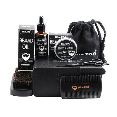 8 Pcs Beard Balm & Oil Conditioner Beard Care Moustache Wax Men Grooming Kit • 22.04£