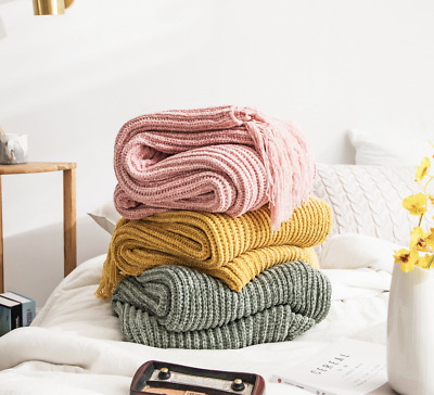 $ CDN105.50 • Buy Knitted Wool Soft Fittings Sofa Bed End Cover Blanket