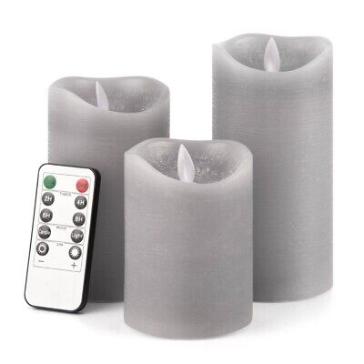 £9.99 • Buy Set Of 3 Flickering LED Candles Real Wax Battery Powered Lights Lamps + Remote