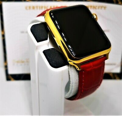 $ CDN450.07 • Buy 24ct Gold Plated 42MM Apple Watch 24ct Red Genuine Leather Band 24K