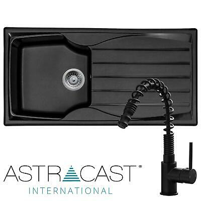 £162.99 • Buy Astracast Sierra 1.0 Bowl Black Reversible Kitchen Sink & Pull-out Spray Tap