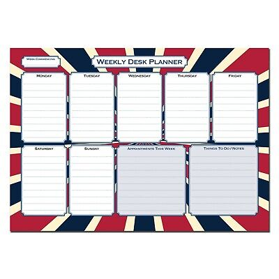 £6.95 • Buy Cherry Printers Weekly Desk Planner Pad A4 120gsm 55 Sheets