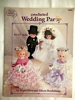 £6.24 • Buy Crocheted Wedding Party Pattern Booklet 13  Gown Dress Dolls Bride Groom Maids