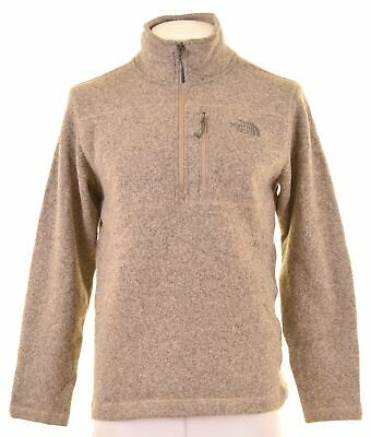THE NORTH FACE Mens Zip Neck Jumper Sweater Medium Brown Polyester GK03 • 27.95£