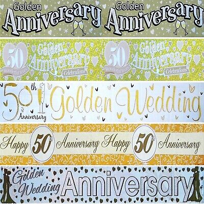 50th Golden Wedding Anniversary Banners Multi  Holographic - Party Decorations • 1.99£