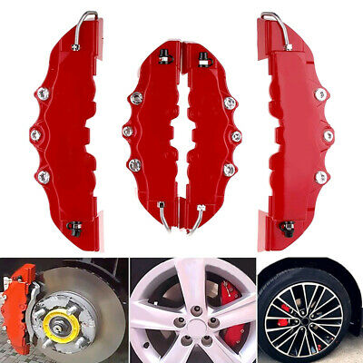 4PCS 3D Red Universal Car Disc Brake Caliper Cover Front & Rear Accessories Kit • 10.99£
