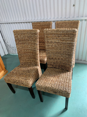 AU225 • Buy H5037 Highback Wicker Cane Set Of 4 Dining Chairs