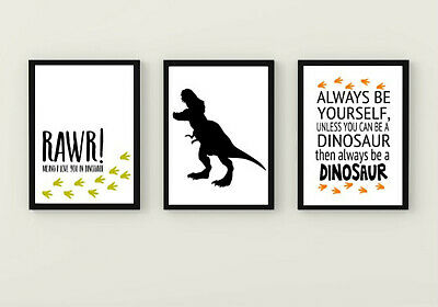 Dinosaur Quote Prints Set Of 3 A3 Bedroom Games Room Accessories T Rex Kids Gift • 8£