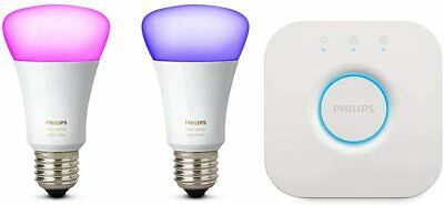 AU162.28 • Buy PHILIPS HUE White & Colour Ambiance E27 Mini Starter Kit | Bridge + 2 Bulbs NEW