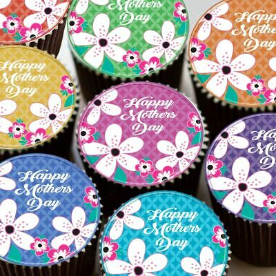 Happy Mothers Day Mixed Colour Flowers Edible Cupcake Topper Cake Decoration K31 • 4.59£