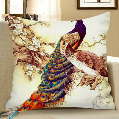 Square Cushion Cover Home Bed Sofa Decor Cover Two Peacocks 60x60cm • 8.60£