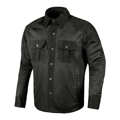 Mens Motorcycle Shirt Mesh Cotton Rider Jacket Black Made With Kevlar CE Armour • 54.99£