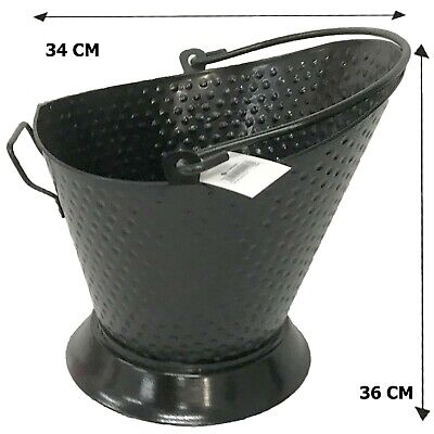 Hammered Black Steel Bucket Waterloo Coal Ash Fire Log Scuttle Hod Fireplace • 14.99£