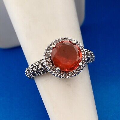 £305.67 • Buy Stunning 14K White Gold Mexican Fire Opal Diamond Halo Ladies Cocktail Ring