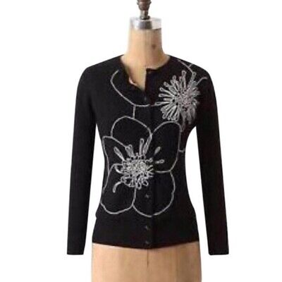 $ CDN37.60 • Buy Anthropologie Tabitha Small Cardigan Black Outlined Celandine Embroidered EUC