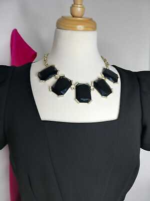 £8.50 • Buy OASIS Deco & Decadence Black Rectangles With Diamantes, Gold Tone Chain Necklace