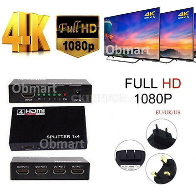 $ CDN15.18 • Buy 4k HDMI Cable 1 In 4 Switch Switcher Splitter Selector Adapter HUB 1080p Bluray
