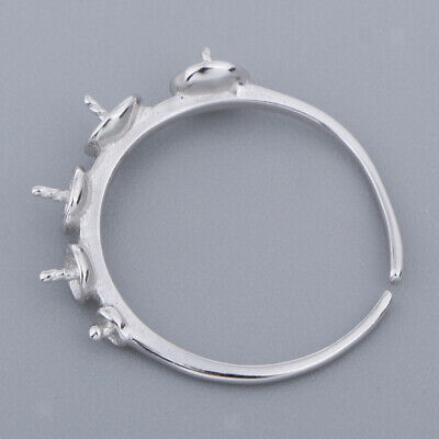 £4.56 • Buy Blanks Finger Ring Ring Bases Adjustable 925 Sterling Silver Cabochon Tray