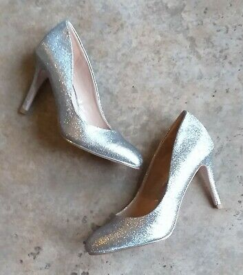 Miss KG Sparkly Silver Pewter Stiletto Heel Court Shoes - Size 4 UK - BNIB • 12£