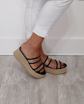 Ladies Womens Flat Wedges Slip On Platform Espadrille Mule Sandals Shoes Size • 7.99£
