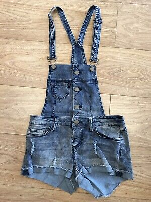 Girls Short Dungarees Age 13 To 14 Years Bib & Brace  YMI Jeans Blue Denim E810 • 8.99£