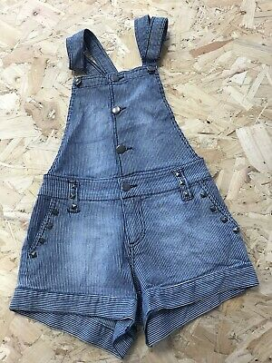 Girls Dungarees Shorts Age 8 To 9 Years XXI Striped Blue Denim B1212 • 7.99£