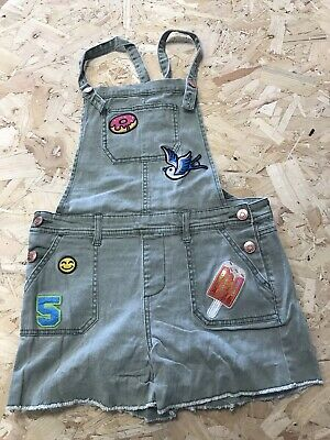Girls Dungarees Shorts Aged 13 To 14 Years Cat&jack Khaki Denim B1248 • 7.99£