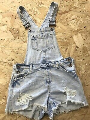 Girls Dungarees Shorts Age 12/13 Years Authentic Denim B1243 • 7.99£