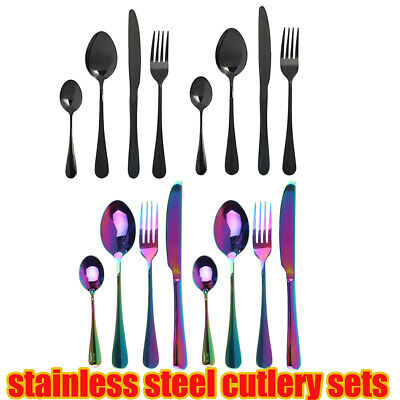 £5.39 • Buy Cutlery Sets Stainless Steel 4 8 Pcs Colorful Rainbow Fork Knife Spoon Dining KJ