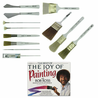 Bob Ross Brush Set Oil Paint Tools & The Best Of Joy Of Painting Book 13 Pcs • 94.41£