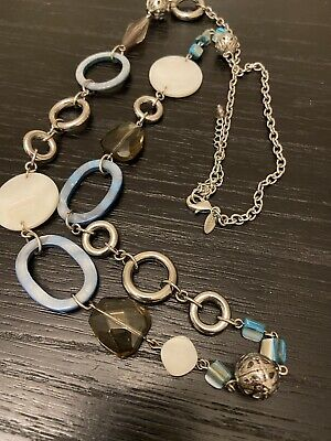 $ CDN8.50 • Buy Lia Sophia Long Mother Of Pearl Necklace Circles Gorgeous Blue