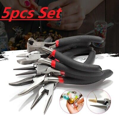 £9.50 • Buy UK 5 Pc Jewelers Pliers Set Jewelry Making Beading Wire Wrapping Pliers Set