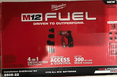 """Milwaukee M12 Fuel 12-volt Lithium-ion Cordless 4 In 1  3/8'"""" Drill Drive Kit  • 135.18£"""