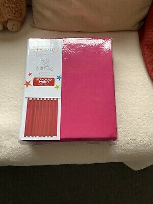 Tab Top Lined Bright Pink Curtains With Tie Backs • 5£