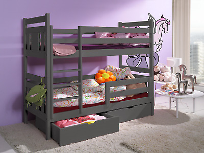 BUNK BEDS GREY Pine WOODEN Childrens Kids Mattresses High Sleeper Frame Drawers • 479£