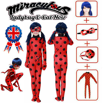 Girls Miraculous Ladybug Costume Cosplay Jumpsuit Outfits Tight Fancy Dress Wig • 5£