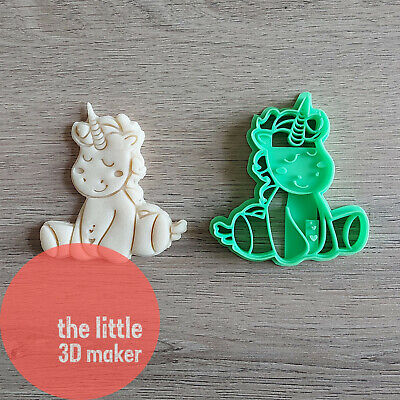 AU11.95 • Buy 3D Printed Unicorn Cookie Cutter Stamps Fondant Embosser