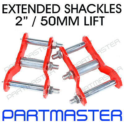 AU80 • Buy For Toyota Hilux KUN26 N70 4WD Rear 2  50mm Extended Greasable Shackles Lift Kit