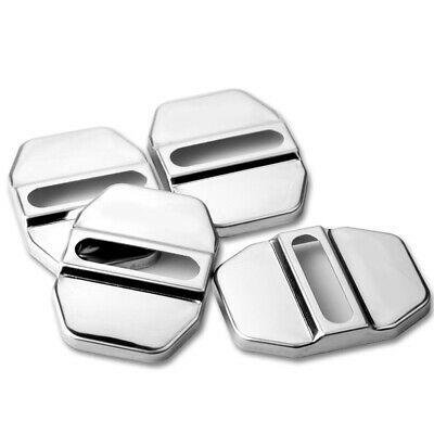 4X CAR DECORATIVE ACCESSORIES Stainless Steel AUTO DOOR LOCK PROTECTIVE COVERS • 8.79£