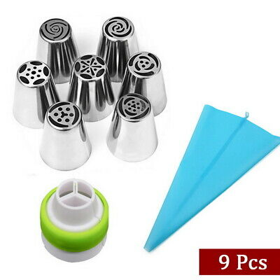 9pcs Russian Leaf Flower Icing Piping Nozzle Tips Cake Topper Baking Tools • 5.49£