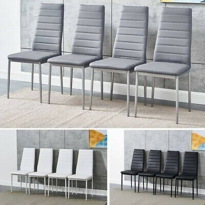 £95.59 • Buy Set Of 4 / 6 Dining Chairs Padded Seat High Back Metal Legs Home Furniture W/B/G