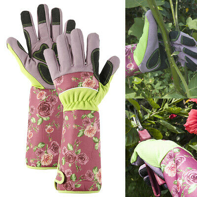 Ladies Long Sleeves Gardening Gloves Thorn Proof Garden Gauntlet Protect Arms • 10.99£