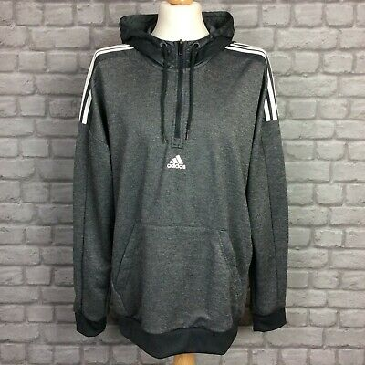 £34.50 • Buy Adidas Mens Match 1/4 Zip Grey Hoodie Track Top Poly Hooded Top  Many Sizes Ep